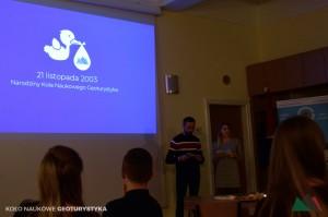 Szymon i Kasia prowadzący jubileusz 15-lecia powstania Koła Naukowego Geoturystyka.
